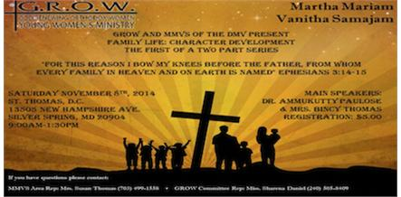 Family Life Series hosted by MMVS of DMV and GROW Ministries